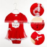 Christmas baby romper red hand embroidered baby dress