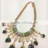 Delicate shining rhinestone snake link chain necklace, triangular dark green stone gem necklace for women