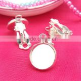 12mm Silver Tone Ear Clips Blank Base Round Earring Tray Cabochon Bezels Setting For Jewelry Making