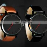 Silver Gold Rose Gold Matt Black Plating Women Men Unisex Simple Custom Classic Quartz Genuine Leather Watch