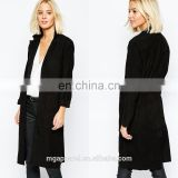 Ladies long coats suede fabric open front black suede leather trench coat wholesale