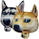 Cartoon cheap decorative animal shaped dage pillow cushion fashion sofa plush husky 3d dog pillow