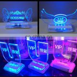 INQUIRY ABOUT Custom acrylic led table number sign led edge lit sign holder for bar / night club