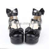 2015 New Fashion Black Pumps Shoes with Bowknot Synthetic leather Rubber-soled High-Quality Gothic Lolita Shoes LL002-1