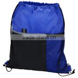 2016 Hot Double Shoulder Travel Gym Drawstring Bag, 210d Polyester Sport Backpack Bag With Mesh Pocket                                                                         Quality Choice