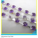 Rhinestone Cup Chain Meter Ss10 3mm Purple Crystal Silver Claw