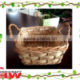 fruit basket: food basket with ear handle,1 piece split willow and wood chip basket with wooden handle