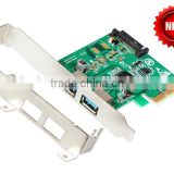 2 ports USB 3.1 PCI express Card PCIe with low profile bracket pci-e 4x to usb3.1 Type-A adapter SuperSpeed 10Gbps