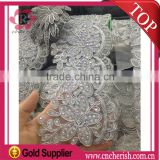High quality slivery color swiss voile lace/Beaded swiss lace fabric/african swiss voile lace for bride dress                                                                         Quality Choice