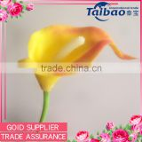 PU material long plastic stem orange calla lily real touch flowers wholesale