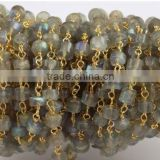 3 Feet Natural Blue Fire Labradorite Heishi Shape Smooth Rosary Style Wire Wrapped Beaded Chain 24k Gold Plated