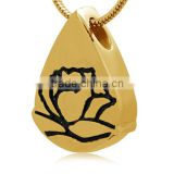 The Welcomed Gift & Crafts Rose Printed Water Drop Stainless Steel Cremation Urns Pendant Shows Your Handsome Sense