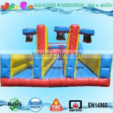 commercial three lane inflatable bungee run with cord n inflatable basketball hoops for sale