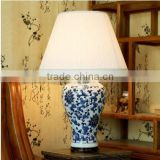 China jingdezhen blue and white porcelain table lamp with wood base