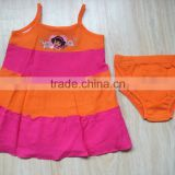 wholesale little baby dress with brief halter dress crepe bright color baby girl dress