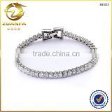 Italy style princess cut white cubic zirconia iced out 925 silver diamond tennis bracelet