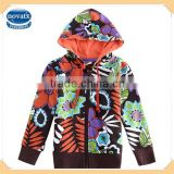 (F3183) brown 18m-6y flower printing new spring 100% cotton kids jackets for girls