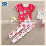 2 colors (TS220) Neat 2-6Y Guanghou wholesale children wear baby summer set beautiful kids girls suits
