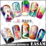 2015 new nail art transfer foil sticker,fashion waterproof nail strips,water transfer nail art stickers