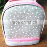 knitted cotton lunch cooler bag insulated