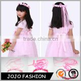 Beatiful pink flower crown with silk ribbon hair accessories for children                                                                                                         Supplier's Choice