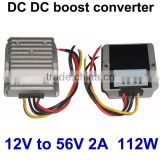 IP68 shockproof small size converter step up transformer 12V solar panels charge 48V battery (DC 12V to 56V 2A)