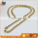 Stainless steel men's Hip Hop real gold plated cuban link chains necklace