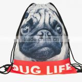 Custom cute dog drawstring bag cord for wholesale, Cheap drawstring bag, Nylon drawstring bag