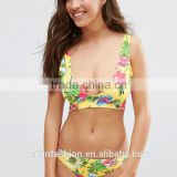 photos sexy full open lady Yellow Tropical Print Cut Out Triangle Bikini Top                                                                                         Most Popular