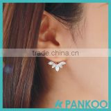 Fashion Earing Big Crystal Silver Ear Jackets Jewelry,High Quality Leaf Ear Clips Stud Earrings For Women 1 Pair