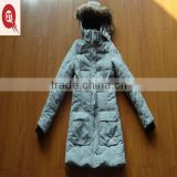 latested design female hoody long thick warm padded jacket