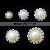 2mm pearls with Alloy rhinestone claw holder fashion pearl button garment accessories sweater embellished pearl button-552