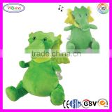 A058 Green Musical Puff the Magic Dragon Stuffed Toy Soft Dragon Plush