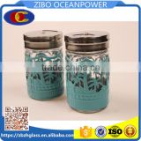glass spice jar glass condiment bottle with metal lid blue metal cover