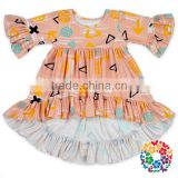 Custom Printed 0-6 Years Old Children T Shirts Wholesale Girls Boutique Half Sleeve Baby Girl Ruffle Shirts