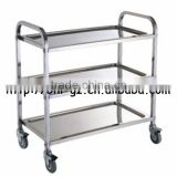 Guangzhou Hotel Supply Stainless Steel Square tube Movable kitchen storage trolley cargo kitchen trolley furniture trolley C262