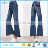 China supplier vintage hippie women wide leg Long flared bell bottom jeans denim trousers pants