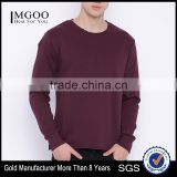 Maroon Sweatshirt Round Neck Long Sleeves Custom Color Plain Mens Casual Autumn Sweater 260G Cotton Fleece Fashion Solid Sweater