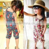 New Children Jumpsuit/Girls Toddler Rompers/Short Playsuit/Kids Summer Floral Soft One-piece Clothing White&Blue 16339
