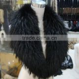 Myfur 2016 China Wholesale Natural Raccoon Fur Hood Trim Detachable Women Leather Collars