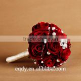 factory wholesale low price real touch silk artificial flower rose wedding bridal bouquet