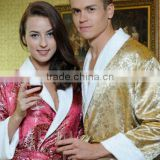 wholesale luxury quality embroidered bamboo cotton bathrobe