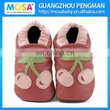 Girl Baby Soft Sole Genuine Leather Red Shoes Cherry Pattern Size 0-4 Years
