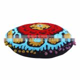 Embroidered Suzani Round Pillows Indian Floor Pom Pom Lace Cushion Cover Throw