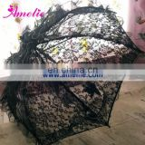 A0256 Gothic lace umbrella black with silver edge
