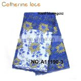 Catherine Latest Designing Fashionable Royal Blue Flower Embroidery French Lace