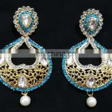 Turquoise Heart-In- Drop Beautiful Collection Gold Plated Cubic Zerconia Party Wear Earrings Set in Color
