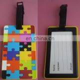 Rectangle shape Autism awareness puzzle piece soft pvc luggage tags with hard plastic frame
