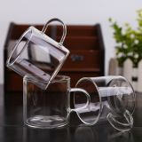 Wholesale Factory Price Amazon Custom logo 100ml 3.5oz glass cup, drinking glasses, double wall mini glass with handle