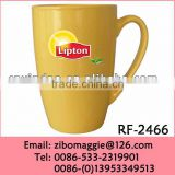 Professional Custom Printed Lipton Logo Ceramic Soup Mug with Belly Shape for Wholesale